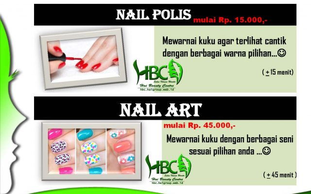 "Hand & Foot Care –> Nail Art, Nail Polish, Henna Art, Manicure, Pedicure, Waxing (Warm/Cool) HBC ""Salon & Wedding""Salon Kecantikan – Khusus Wanita.Berdiri sejak tahun 2009 (nama lama HAI SALON)Buka setiap […]"